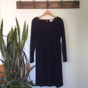 Navy blue lace maternity dress